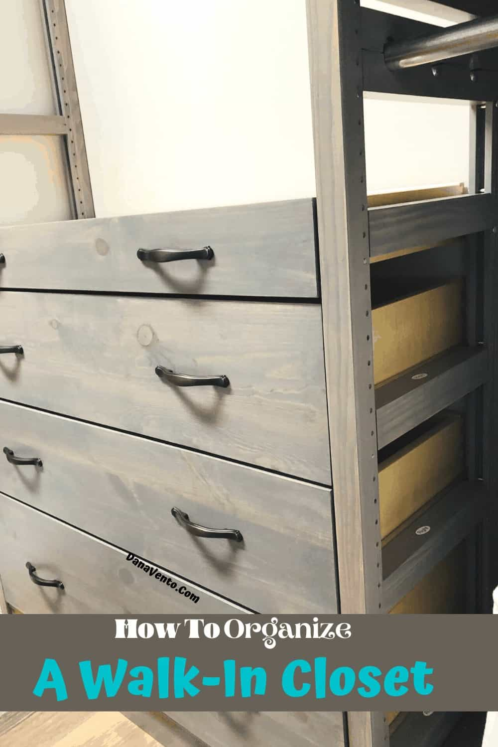 Drawers in LUNDA USA Gray Wash Built. Solid wood closet system is a DIY