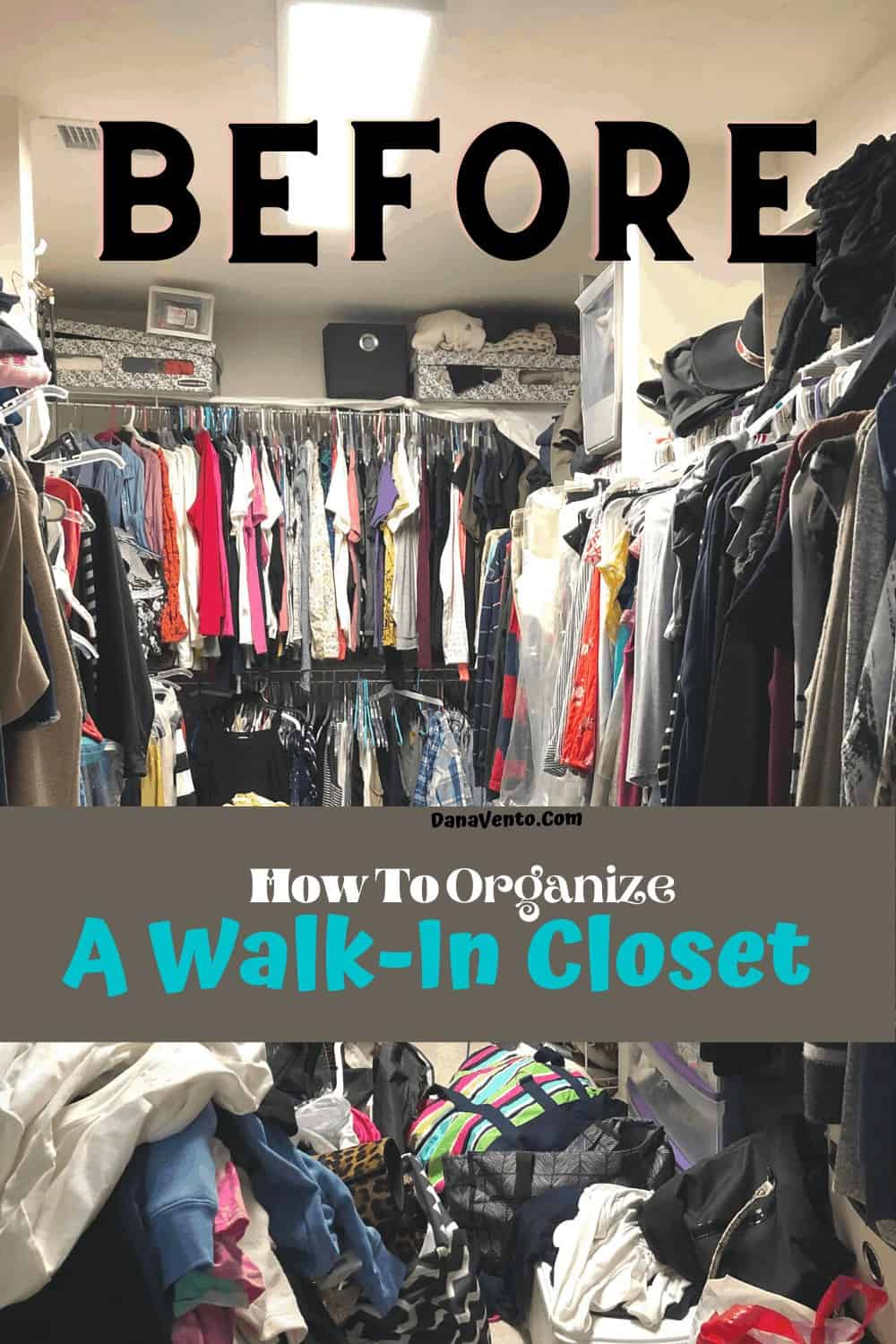 Piles of clothing in the Before a solid wood closet system. OW!