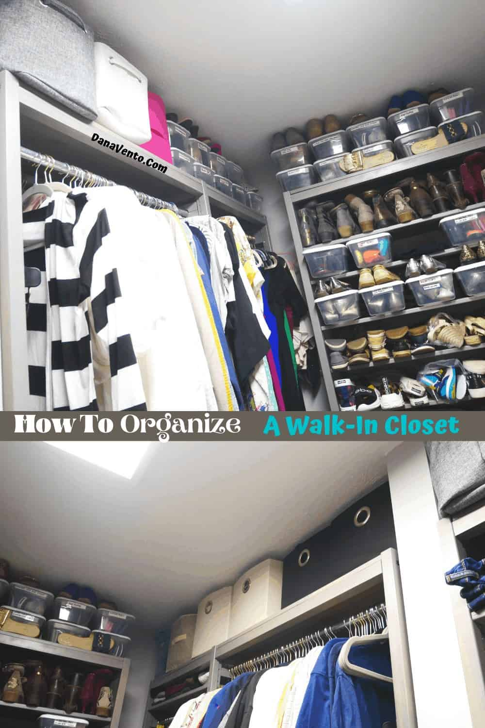 Organized open spaces in LUNDIA USA solid wood closet system using containers from Target