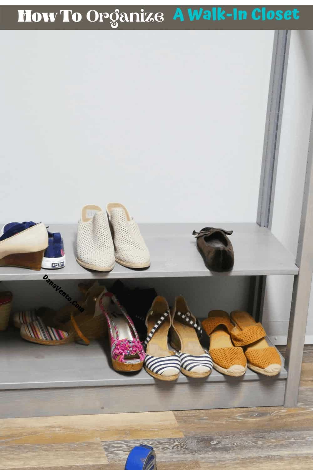 solid wood closet system shelves for shoes being built