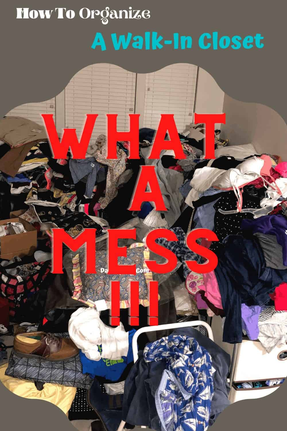 a mess of clothing in a huge pile before we put it in the new solid wood closet system from Lundia USA