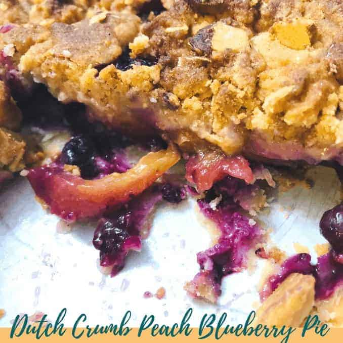 pie with blueberry and fresh peaches