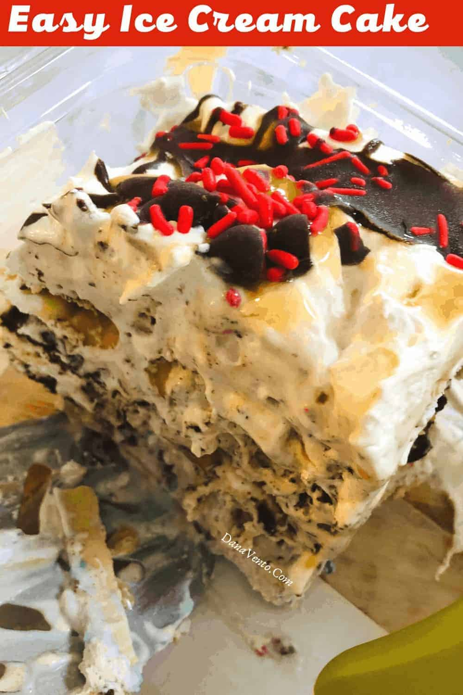 A Cut of Easy Ice Cream Cake