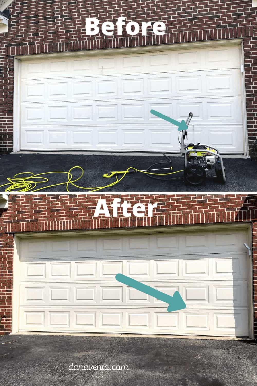garage door before and after power washing mark removed