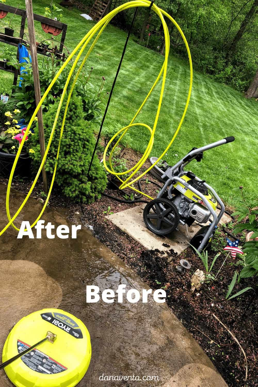 RYOBI Power washing before and after with surface cleaner