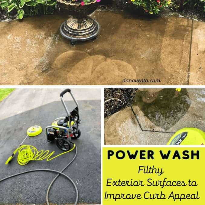 Power Washing segments on sidewalk