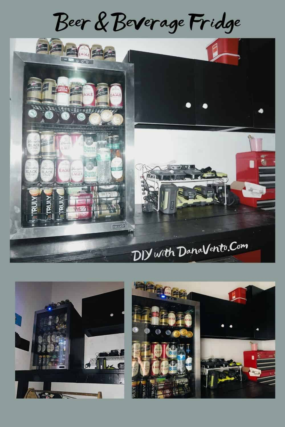 Beer and beverage Fridge on workshop bench loaded