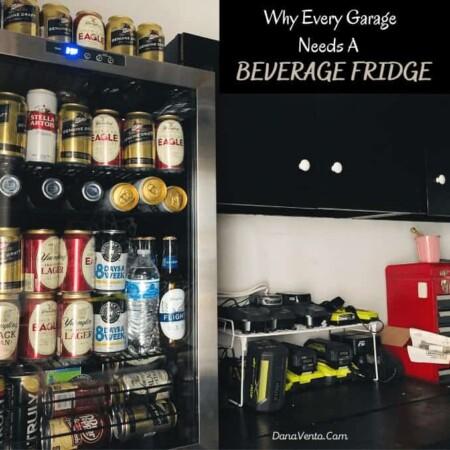 Beverage Fridge on Garage Workbench