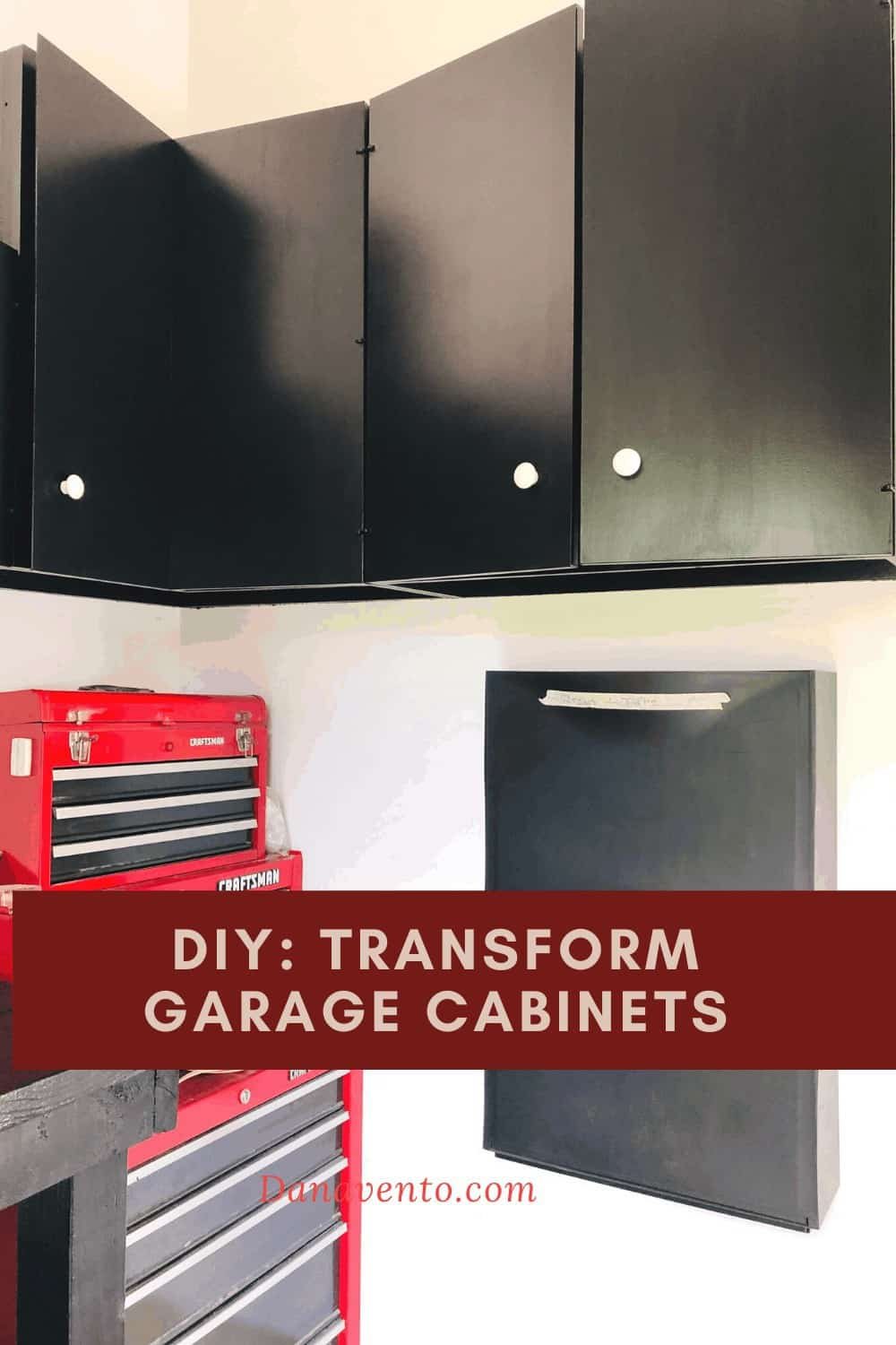 Black Deco NUVO Paint on Garage Cabinets DIY - Paint cabinets. DIY