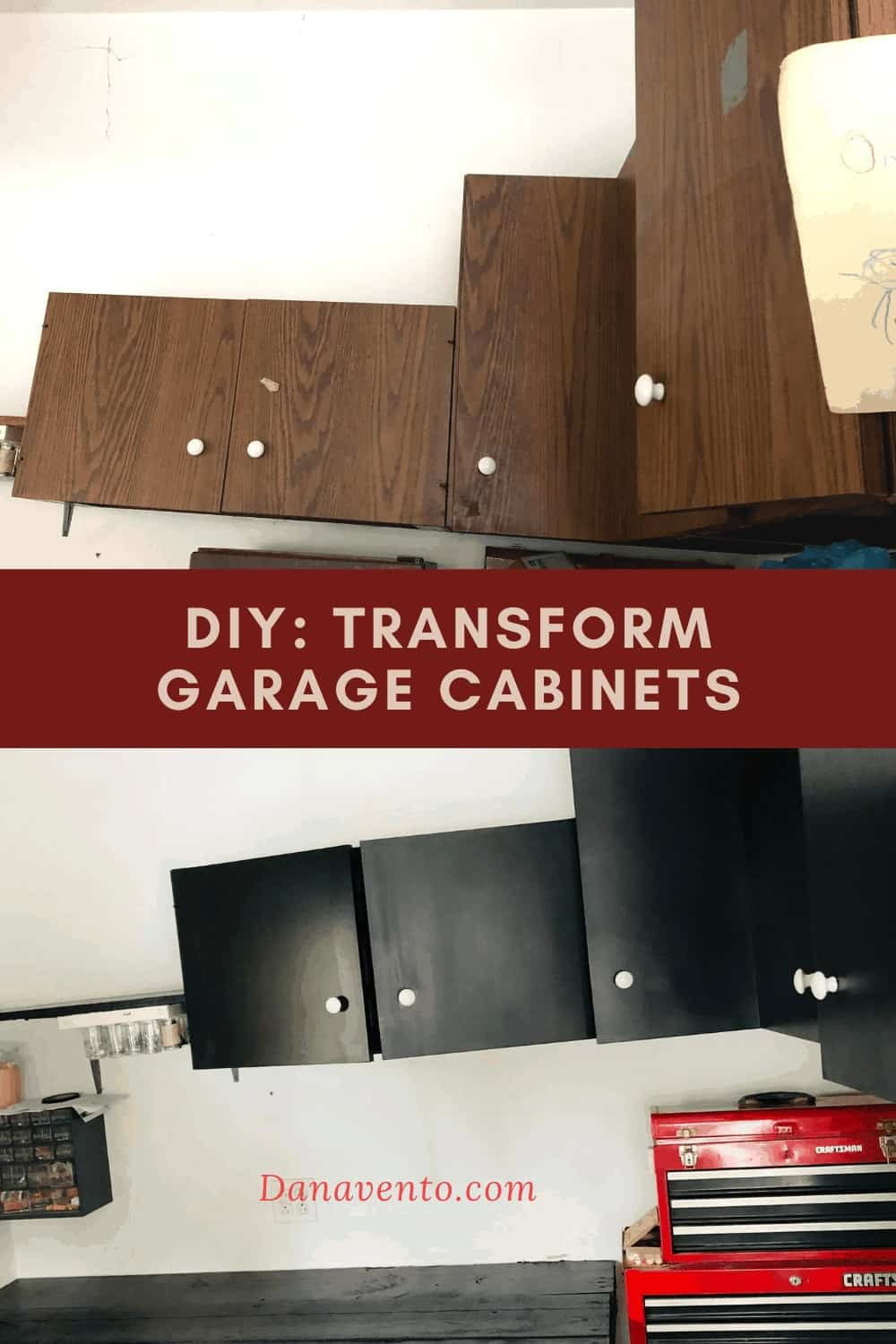 Cabinets before and after NUVO Paint - Paint Cabinets Unbelievably Fast. Ugly to Updated in 1 Day!