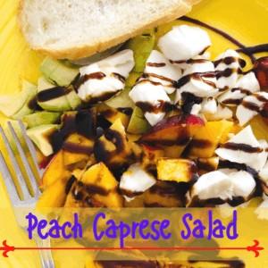 Peach Caprese salad with avocado