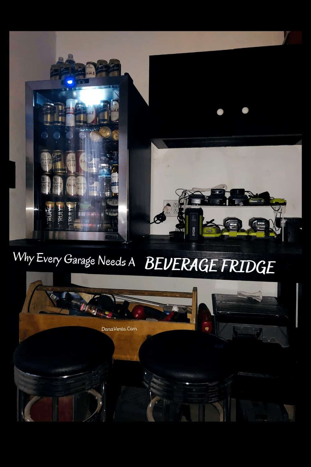 beverage fridge from NewAir with LED light on interior