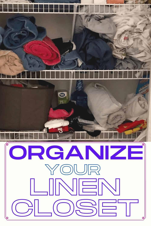 MessyLinen Closet Before Organizing