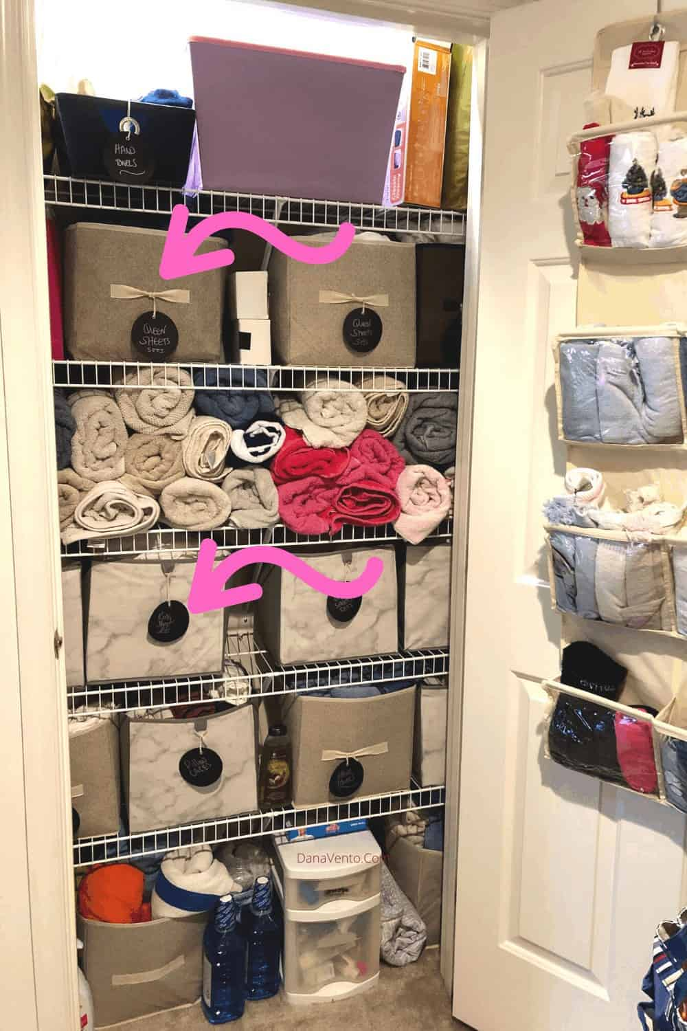 Tags on Cubes in Linen Closet