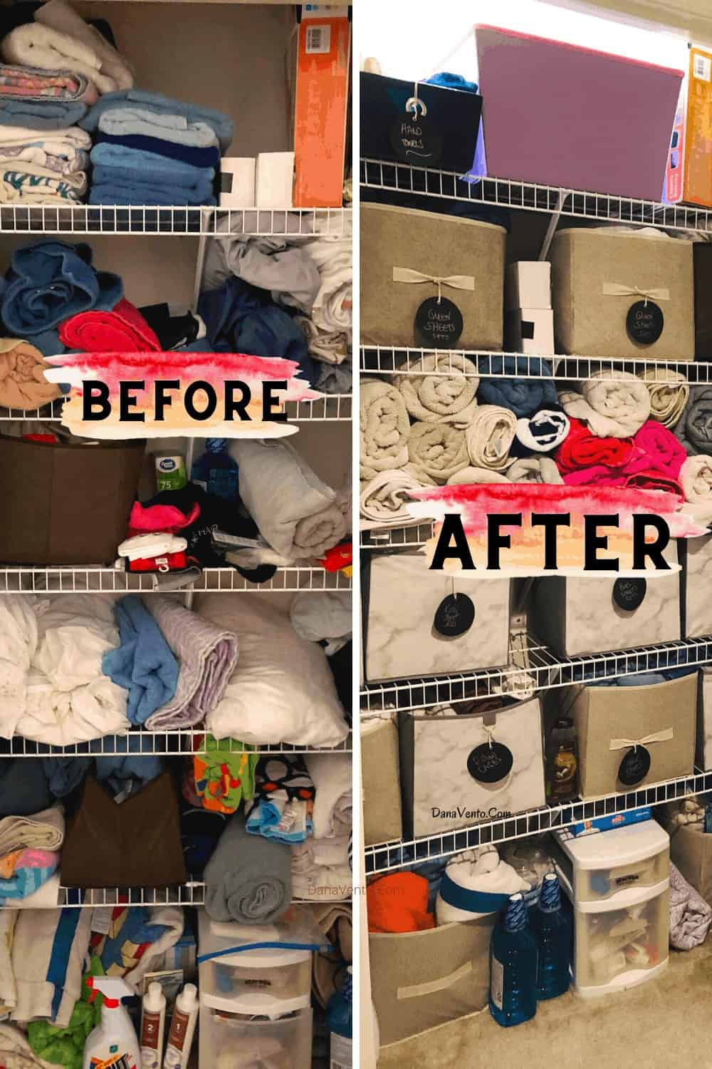 Before and After Organizing Linen Closet