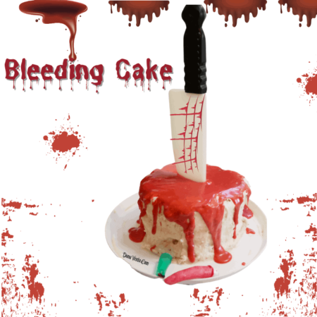 Bleeding cake with blood