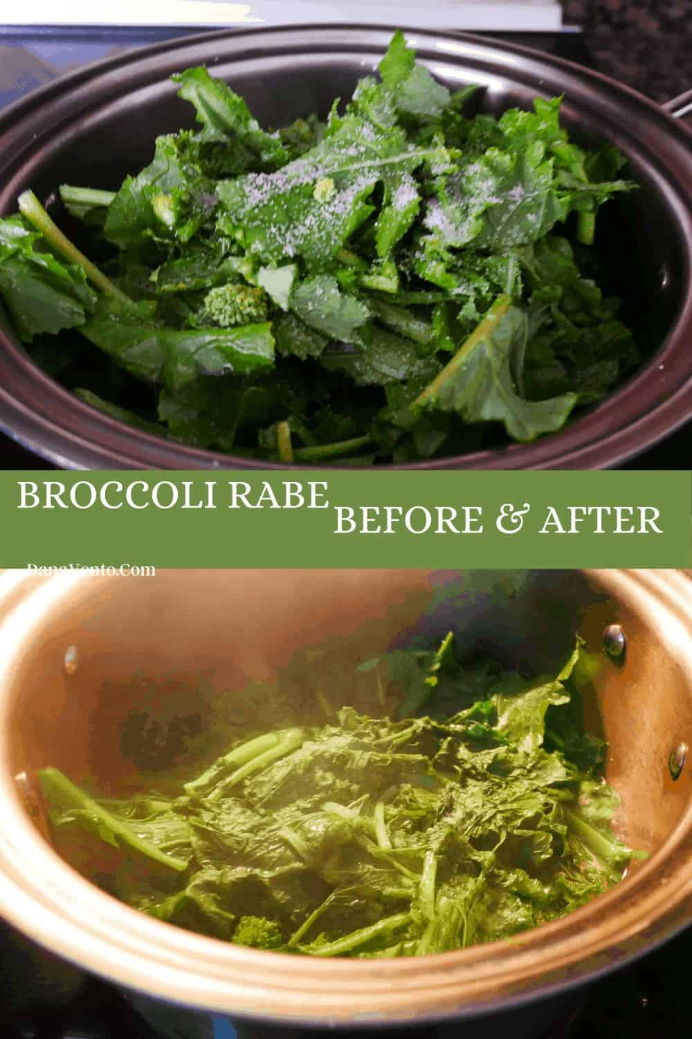sauteed broccoli rabe superfood before being cooked and after being cooked.