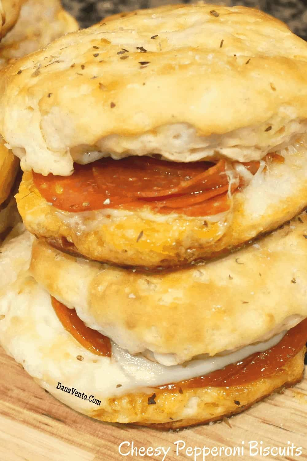 cheesy pepperoni biscuits stacked