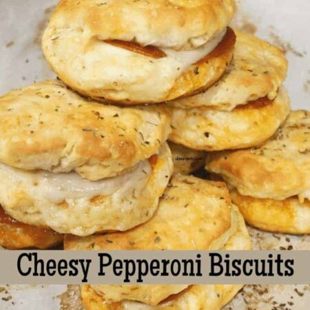 Cheesy Pepperoni Biscuits up close on board