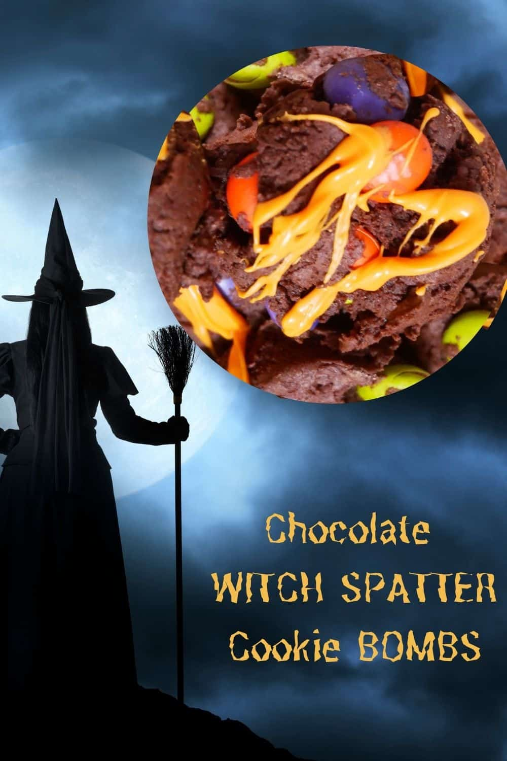 Chocolate Witch Cookie Bombs as the MOON