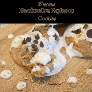 S'mores Marshmallow Explosion Cookies on table