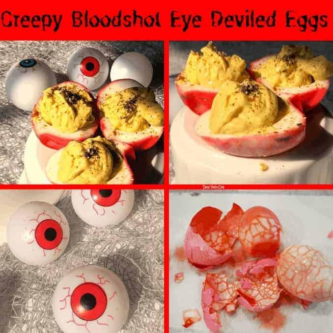 Creepy Bloodshot Eye Deviled Eggs For Halloween