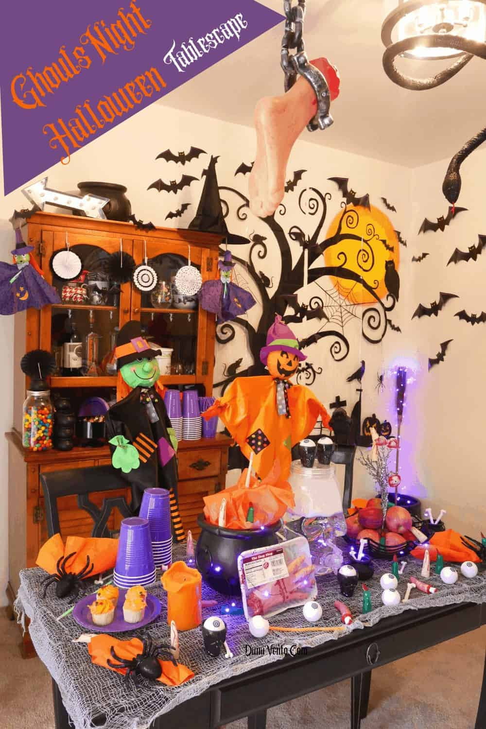 tablescape for Halloween with theme GHOULS night and body parts