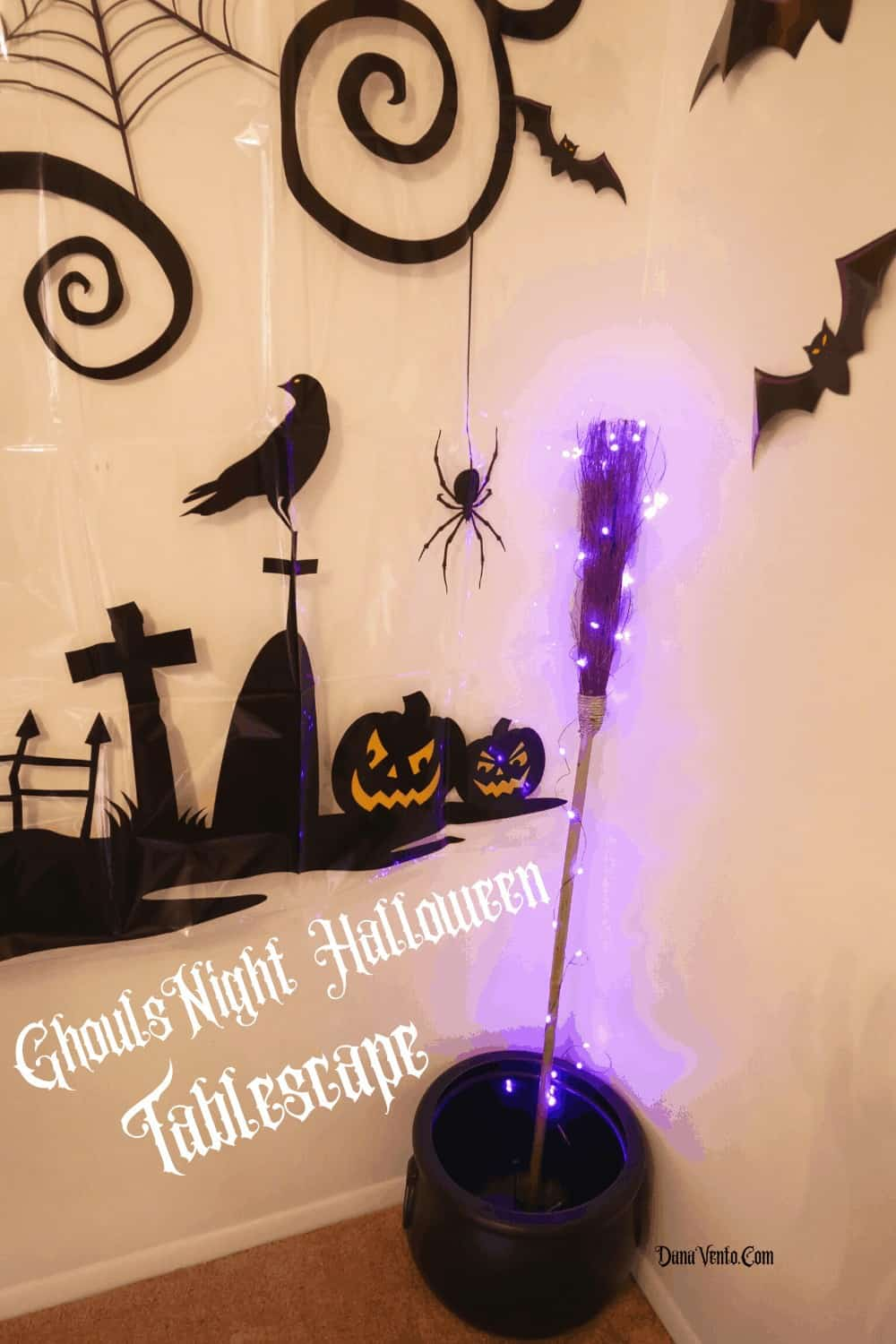 Broom in Cauldron for Ghouls night out