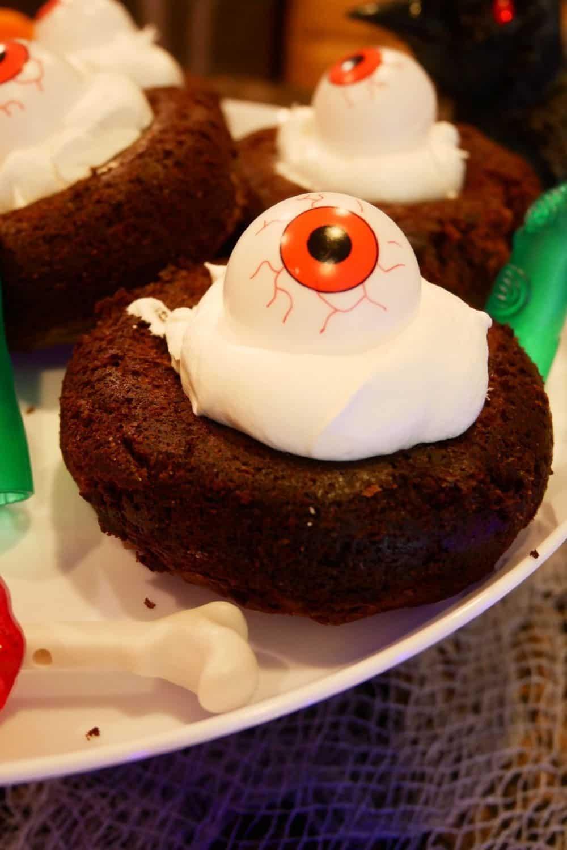 Halloween Brookie eyeballs on a platter