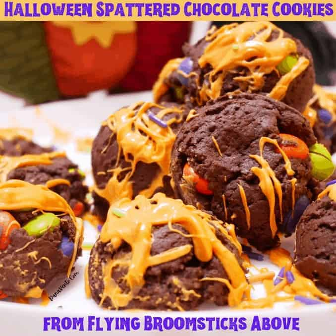 Halloween Spattered Chocolate Cookies from Flying Broomsticks Above