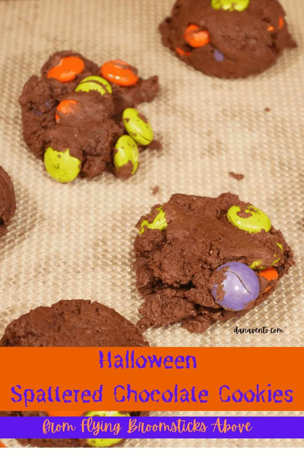 chocolate witch cookie bombs waiting to be chocolate drizzled