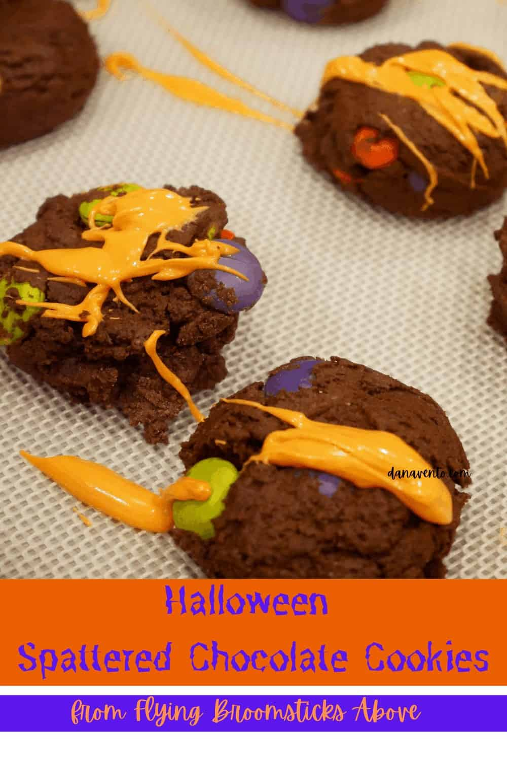 Drizzled Halloween Cookies on tray up close