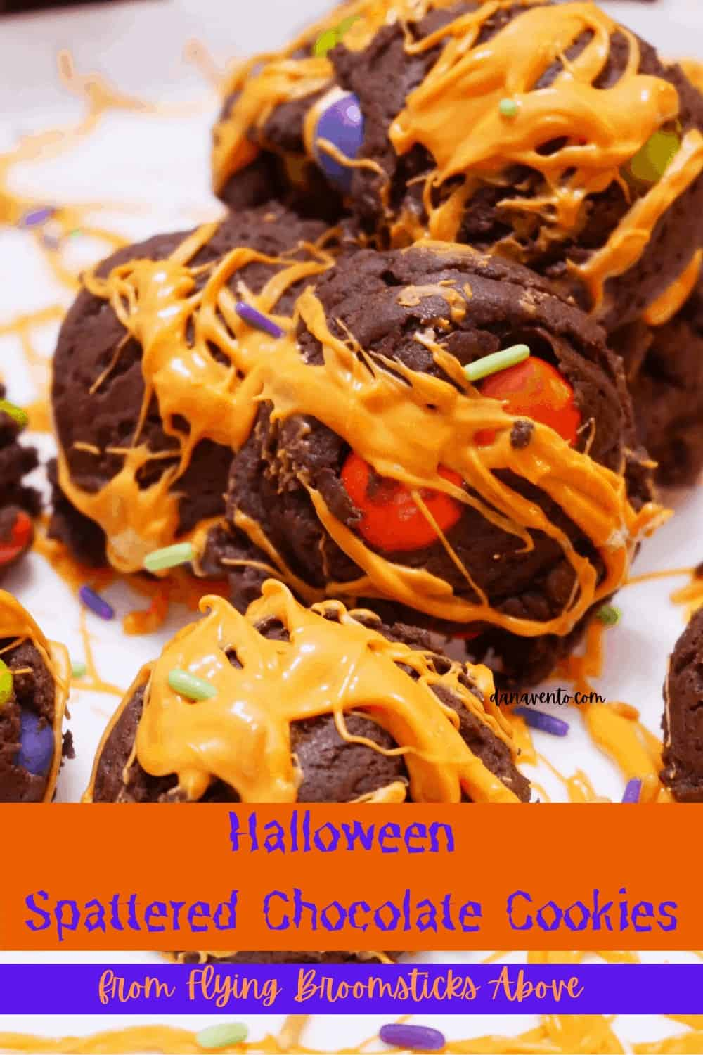 upclose image of Halloween Chocolate Spattered Cookies