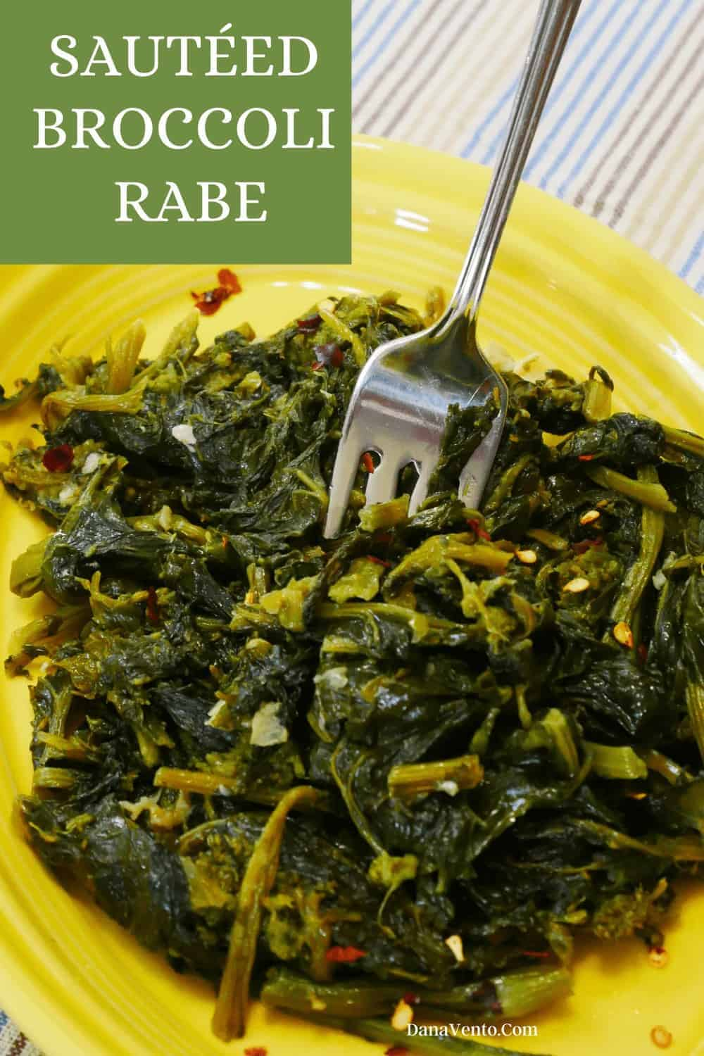 broccoli rabe cooked with fork in it