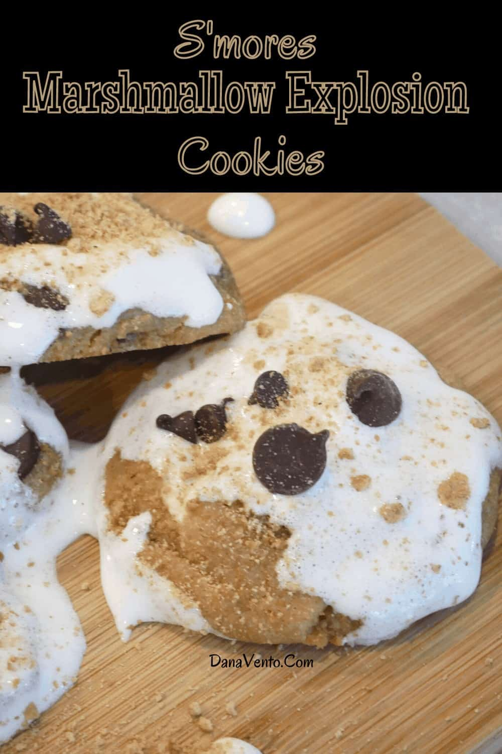 S'mores Marshmallow Explosion Cookies up close to see icing