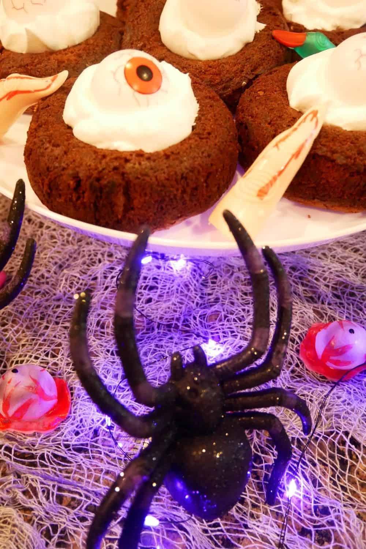 Spider crawling onto Halloween Brookie Eyeball