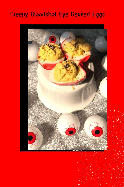 Creepy Bloodshot Deviled Egg Eyes on table