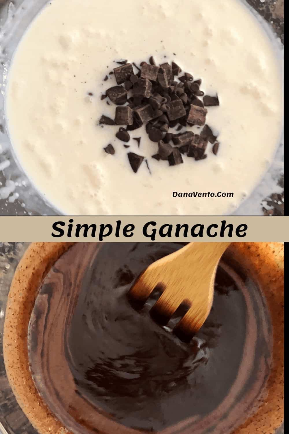 Easy Chocolate Ganache filling  being made