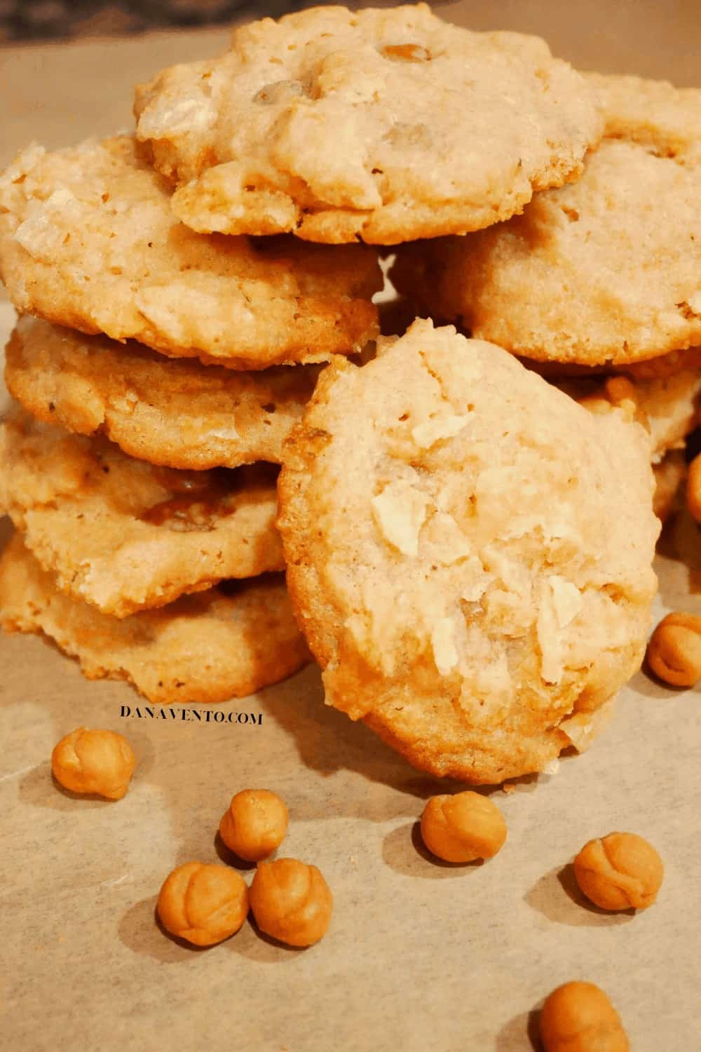 potato chip cookies stacked with caramel bits
