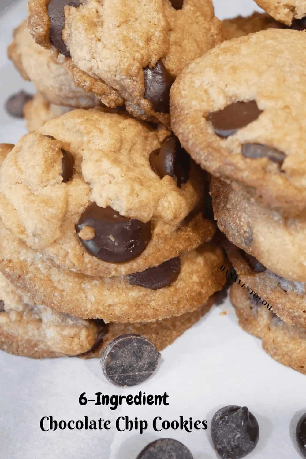 chocolate chip cookies in a pile