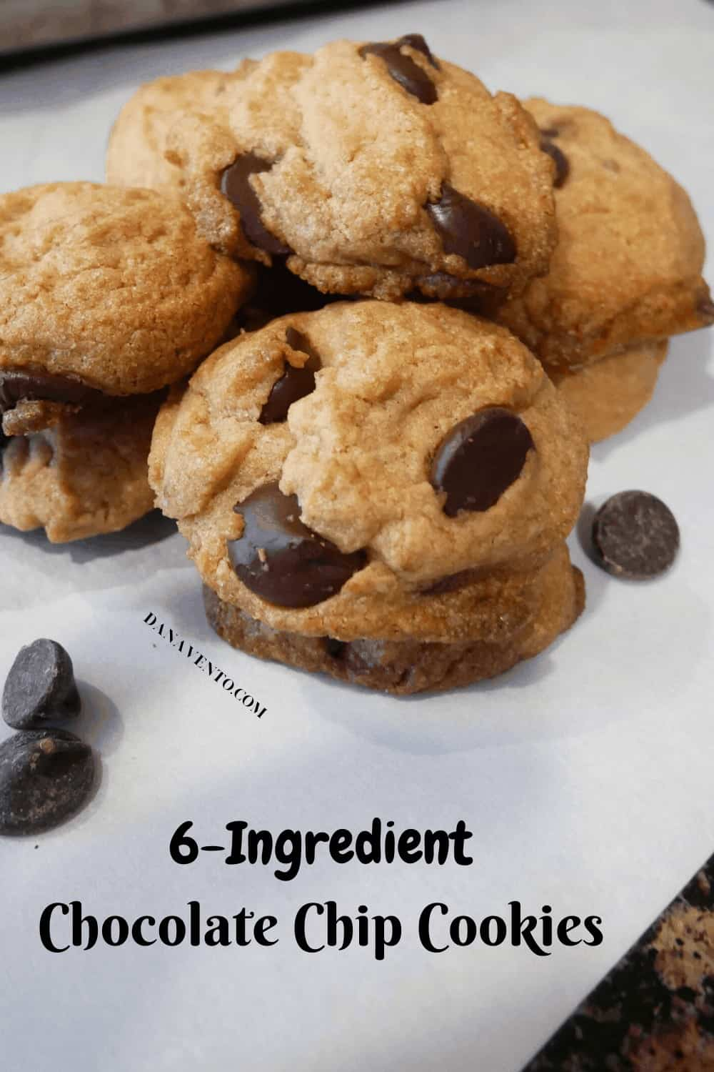a few chocolate chip cookies in a stack