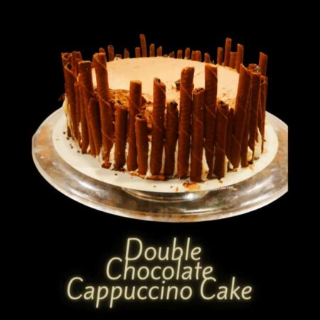 completed Double Chocolate Cappuccino Cake