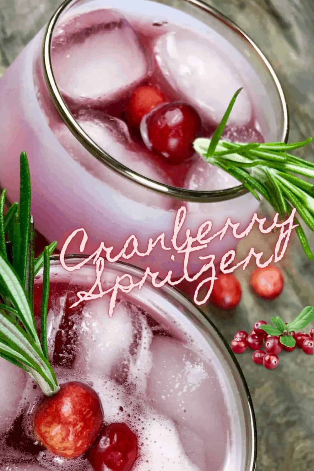 cranberry spritzer in glass with ice