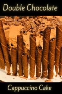 Wafers on side of cake