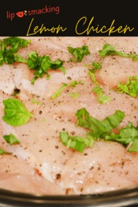 basil on uncooked chicken