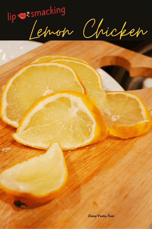 lemons slicedon cutting board for lemon chicken fya