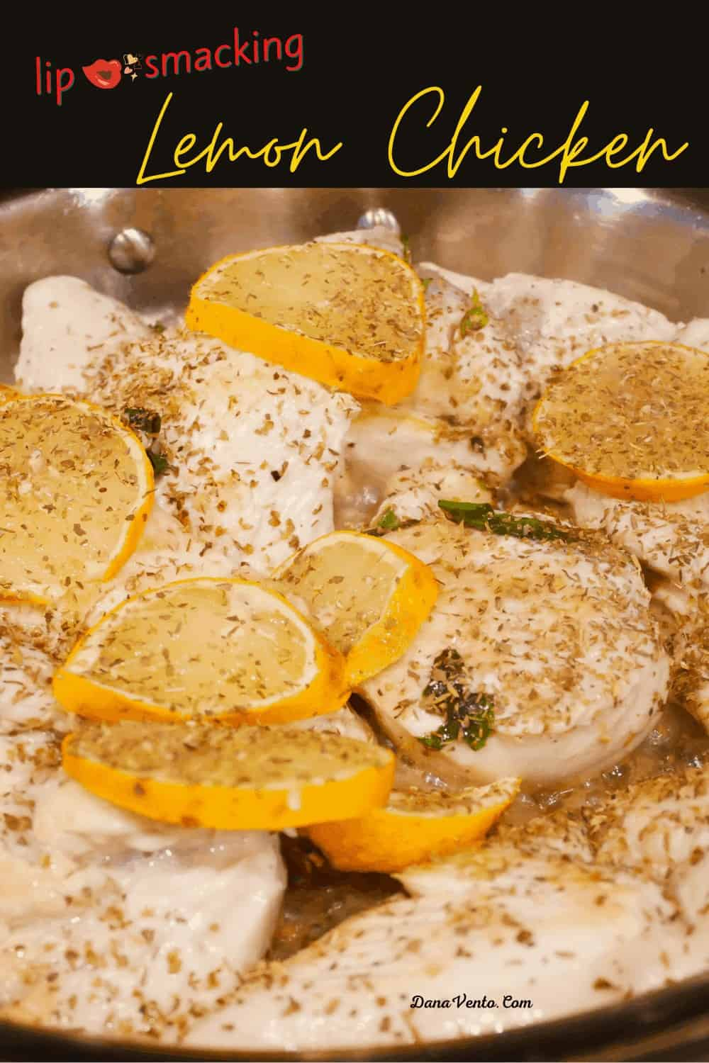 lemons on lemon chicken in pan cooked and ready to serve