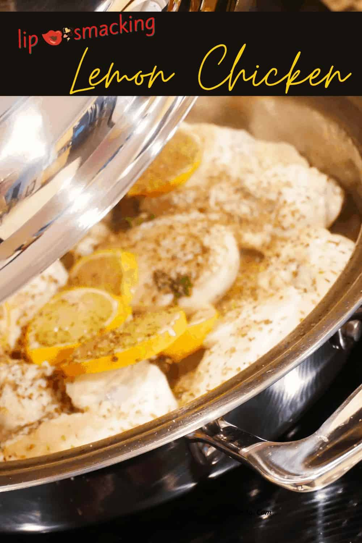 Lemon Chicken fya In Pot with lid tilted