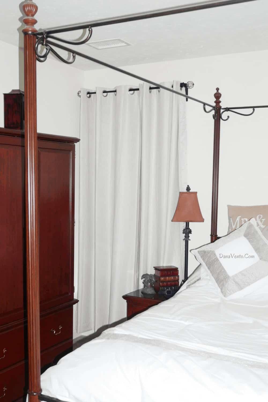 room darkening curtains next to bed