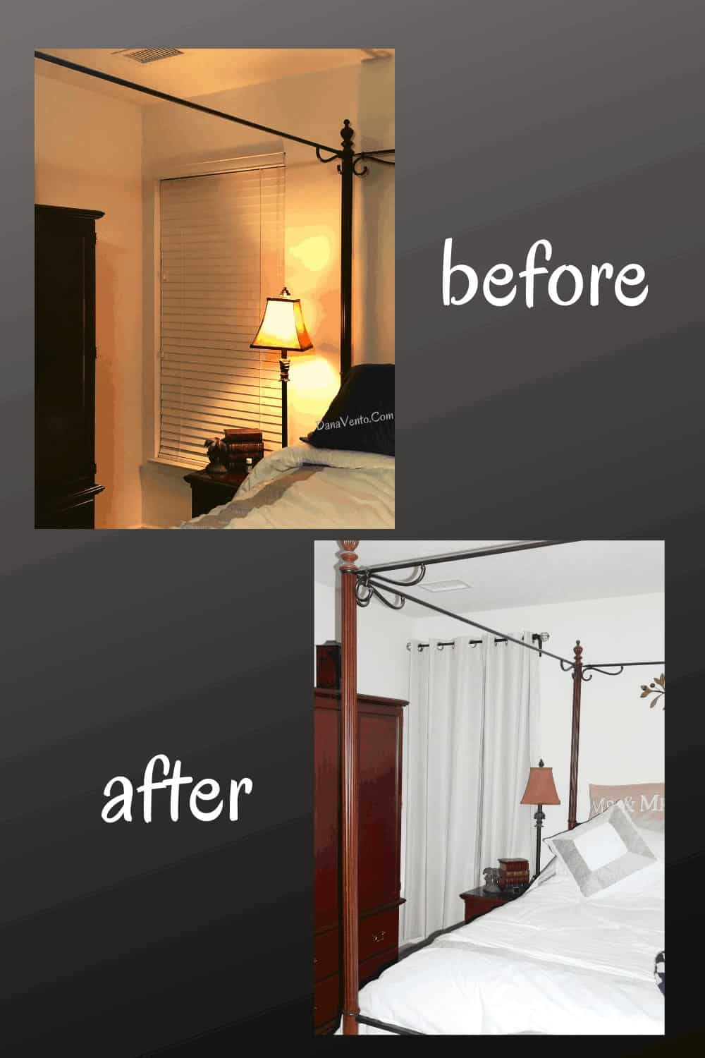 before and after by bed of room darkening dressed window